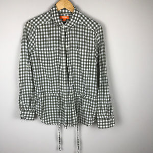 Joe Fresh Sz M LS cinch waist gingham button up